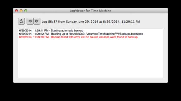log viewer for time machine window