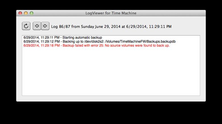 time machine log