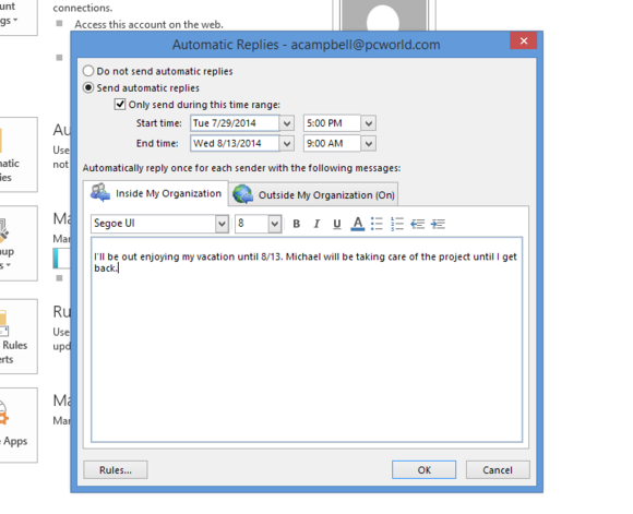outlook 2013 automatic replies