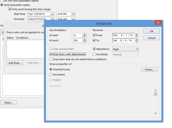 outlook 2013 automatic replies advanced rule options