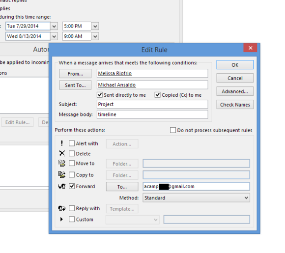outlook 2013 automatic replies edit rule