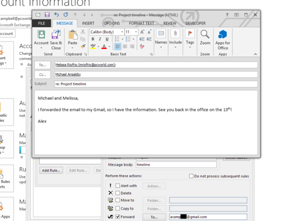 Auto forward email outlook 12