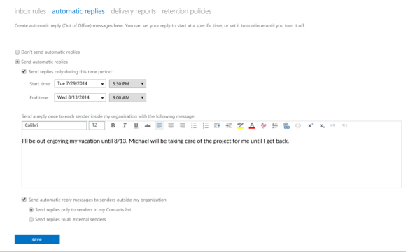 outlook web automatic replies