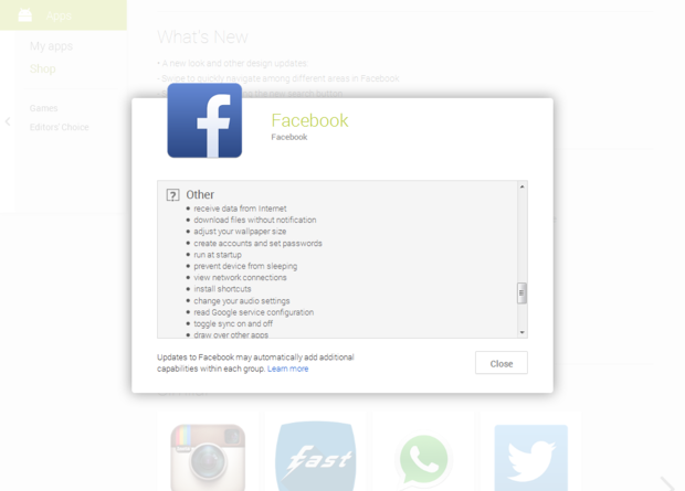 permissions facebook other ss