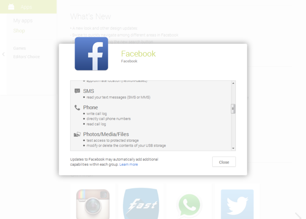 permissions facebook ss