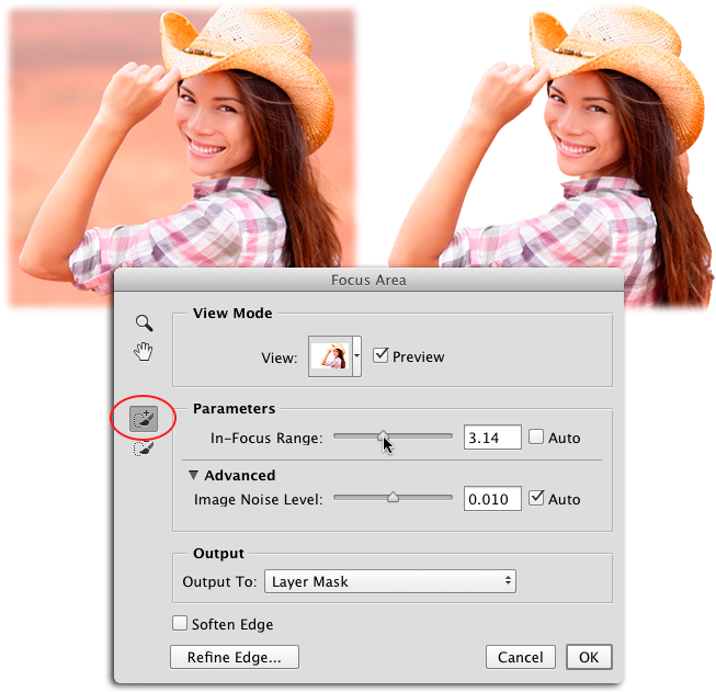 By using the focus area dialog box s add to brush circled you can