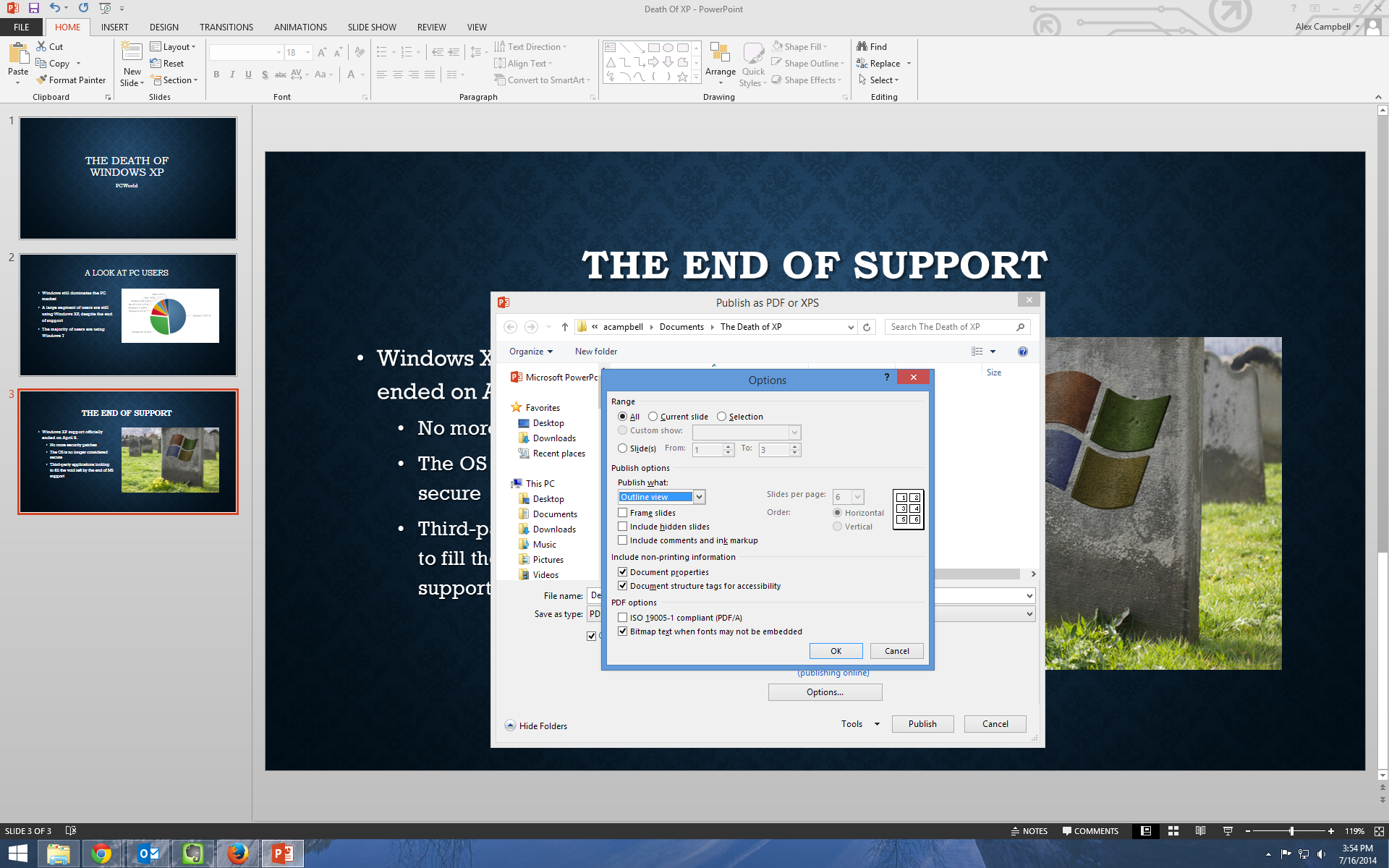 Powerpoint pro tips exporting to other formats pcworld powerpoint 2013 lets you export powerpoint presentations as pdfs with several options for how the presentations information will be displayed alramifo Choice Image