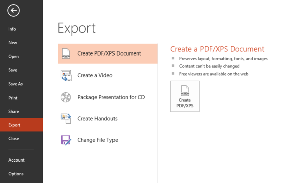 powerpoint export screen