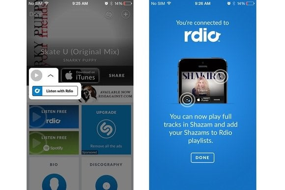 Shazam adds full in-app song playback for Rdio subscribers | TechHive