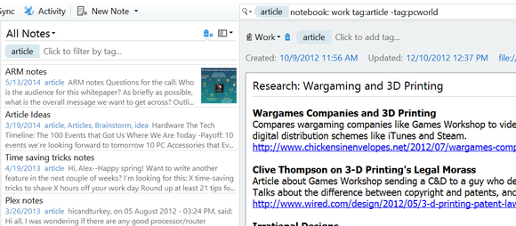Evernote tag and notebook search