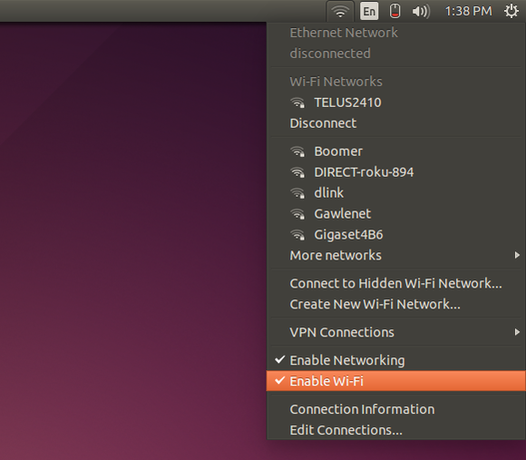 ubuntu networkmanager menu