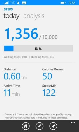 Microsoft Lumia 635 health and fitness