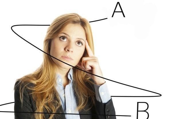 AB testing woman thinking