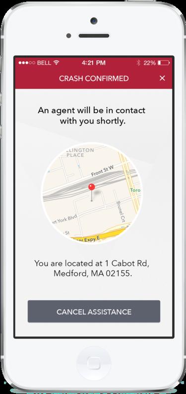 Agero's Auto Crash notification app on an iPhone