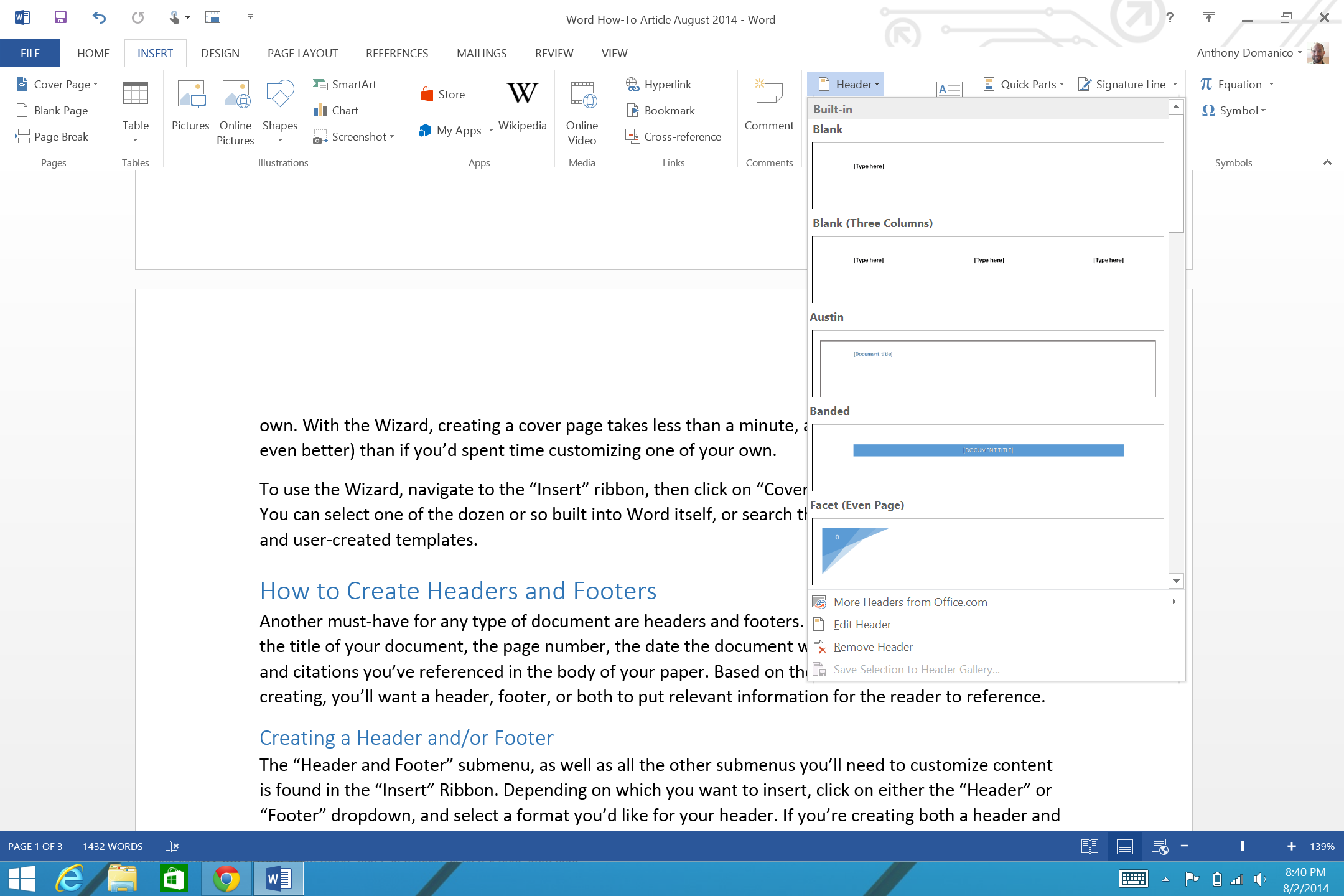 how to add page numbers and a table of contents to word documents win10 minibanner · add different types of headers