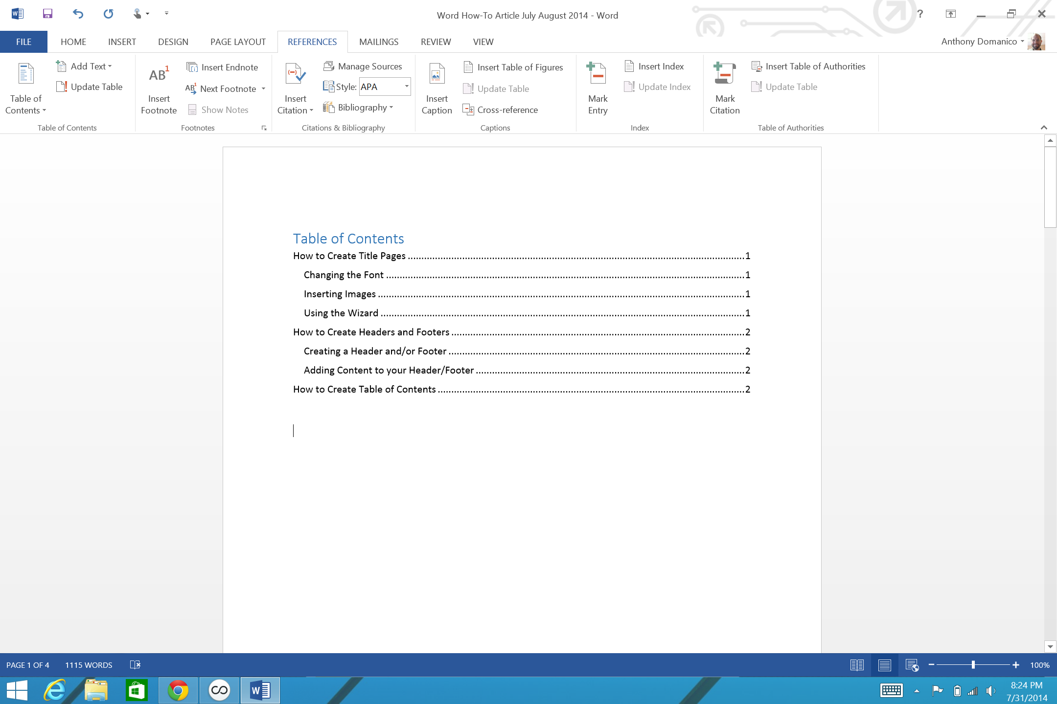 How to add page numbers and a table of contents to word for Table of contents