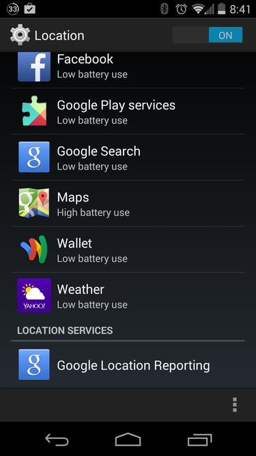 android location settings