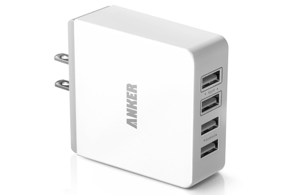 anker 36w quad port usb wall charger front 580