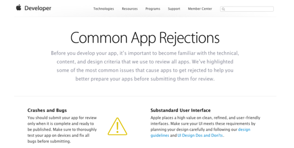 app rejections