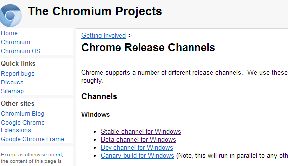 chrome channel page