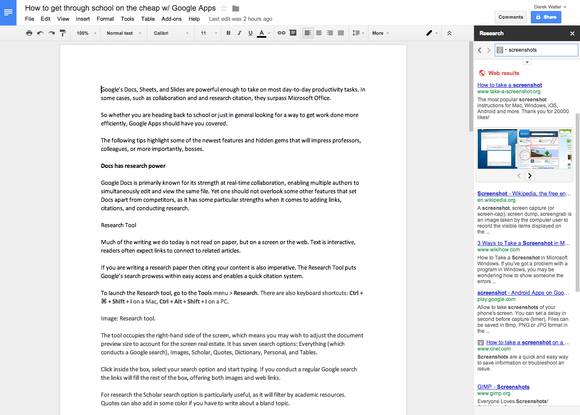 google docs research papers