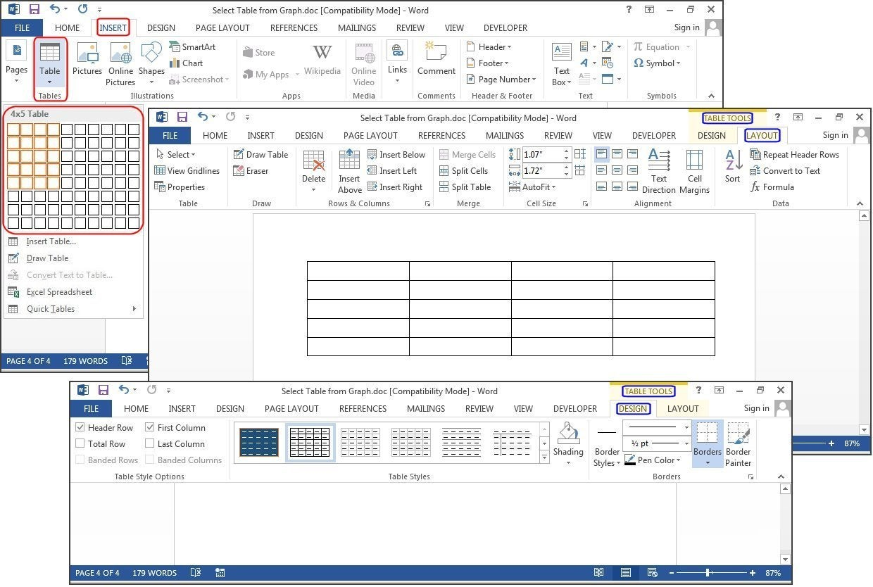 How to create tables in microsoft word pcworld create a new table using the graphical grid ccuart