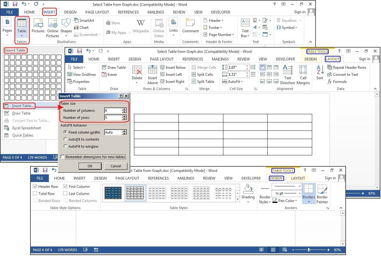 Infotech how to create and customize tables in microsoft word for Table design ms word