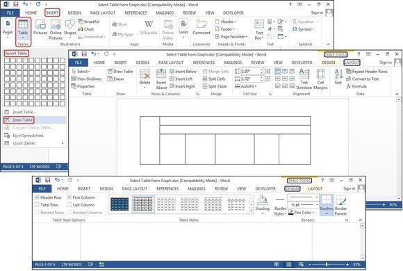How to create tables in microsoft word for Table design tab excel