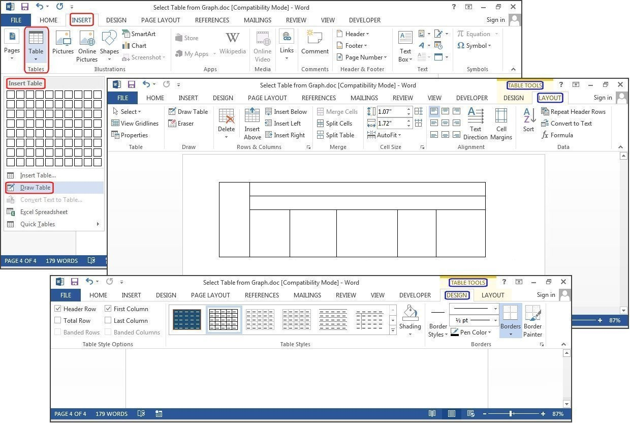 worksheet Worksheet Microsoft Word how to create tables in microsoft word pcworld a new table using draw excel spreadsheet word