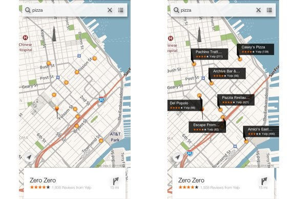 fire phone slider maps yelp