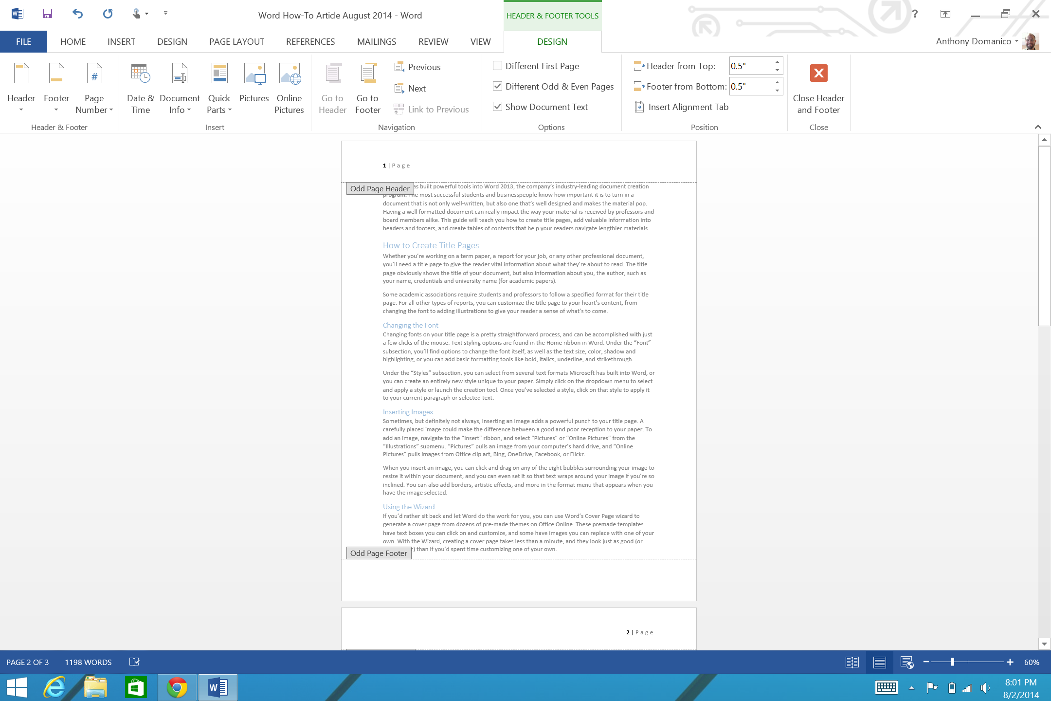 how to add page numbers and a table of contents to word documents header and footer design tab