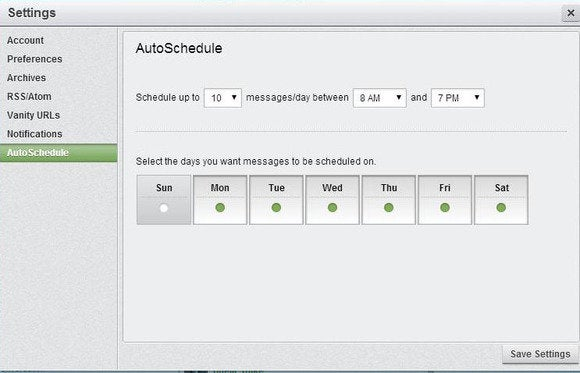 hootsuite auto schedule settings