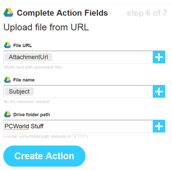 ifttt google drive action fields