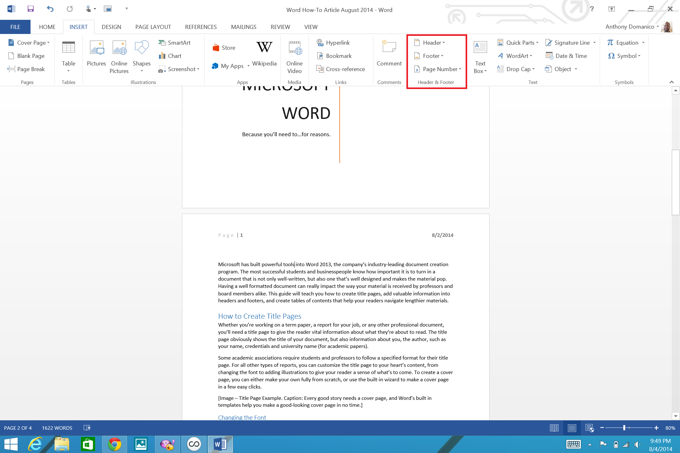how to add page numbers and a table of contents to word documents insert header and footer