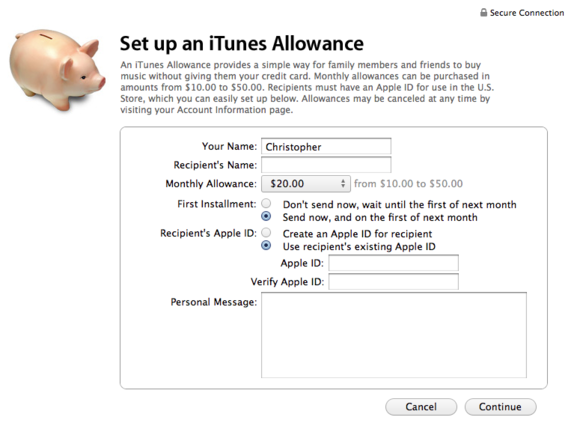 itunes allowance