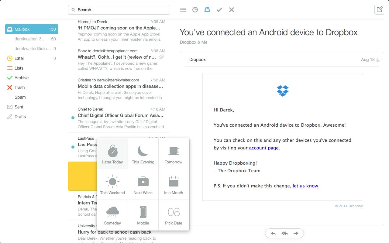 bc942b8b6c24 Hands-on  Mailbox for Mac Beta swipes