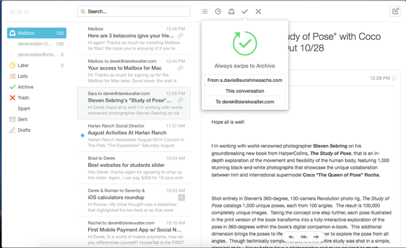 mailbox swipe to archive