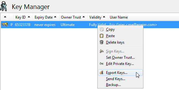 pgp export key