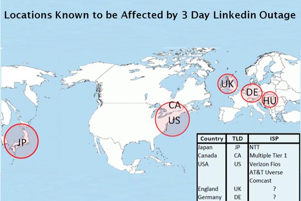 LinkedIn outage map