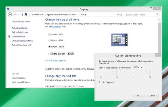 windows 8 custom display scaling