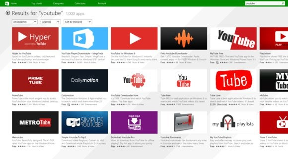 windows store youtube apps