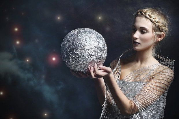 woman silver orb