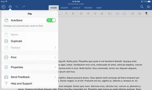 word for ipad file menu