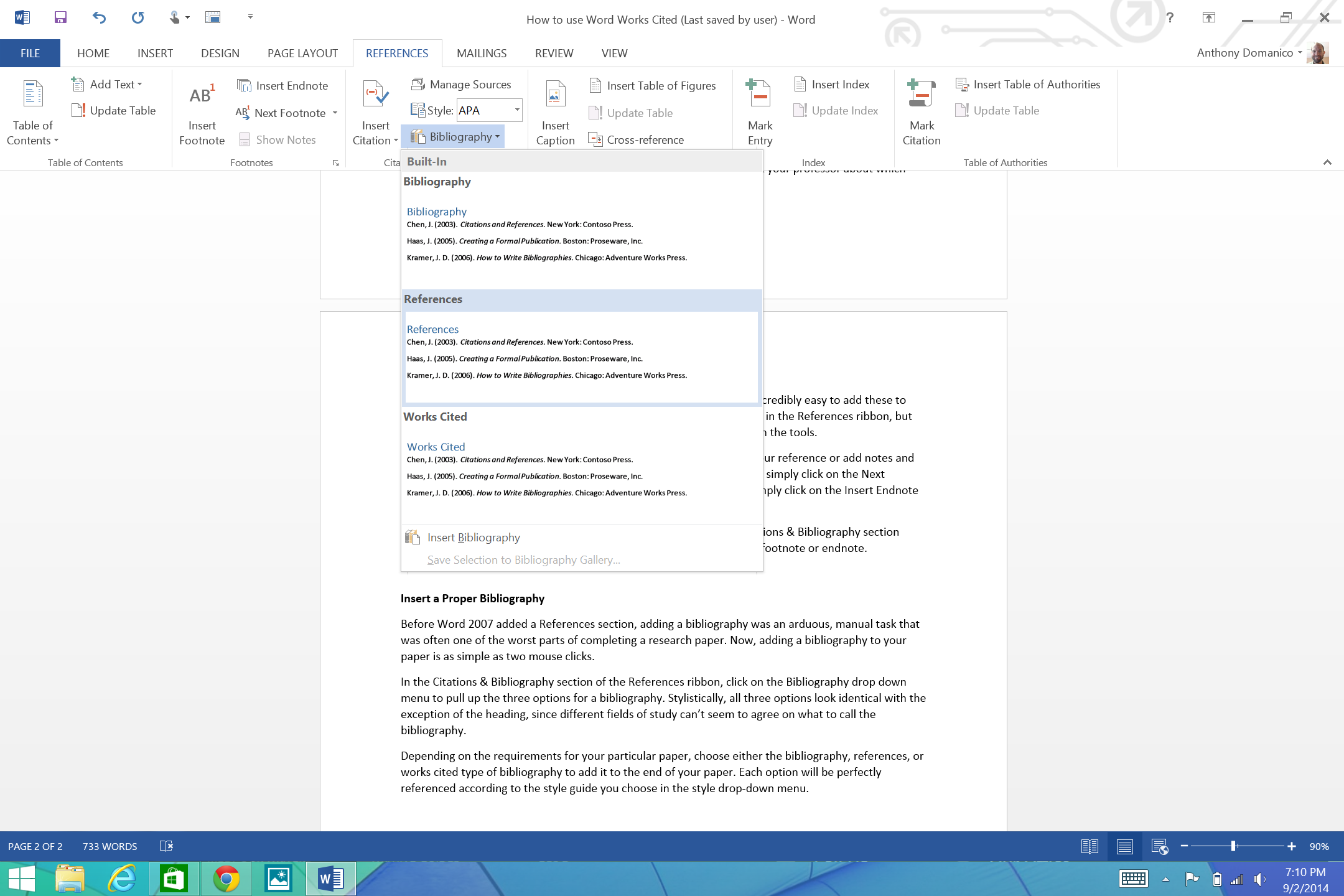 How to use microsoft words works cited tools sources footnotes the bibliography automatically adapts to the style guide you choose in the style dropdown and you can set the title to bibliography references ccuart Images