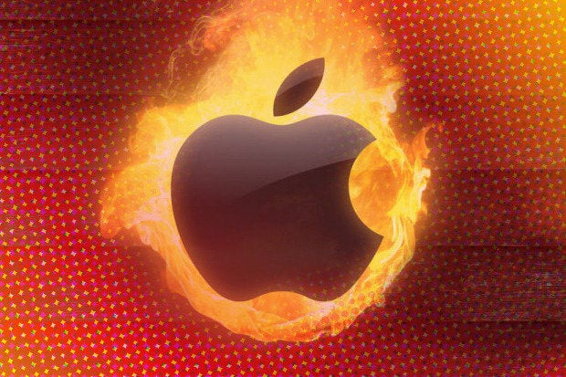 apple burn fire flames hot heat