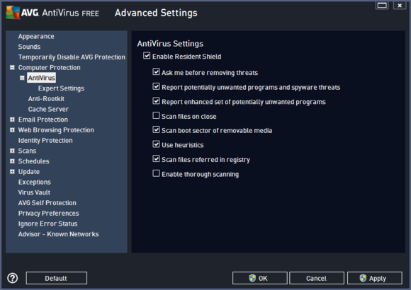 avg settings