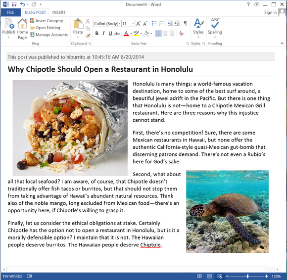 blog post in word