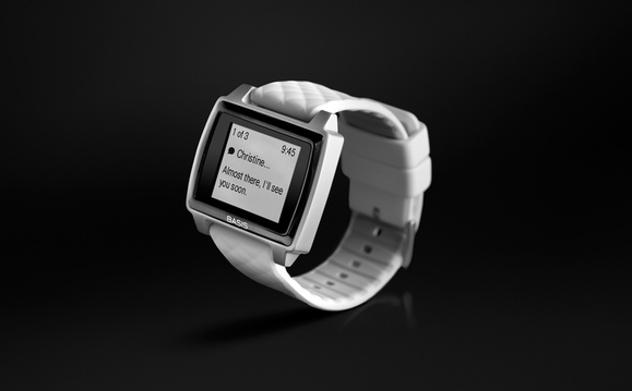 Basis Peak brushed aluminum white 3 4 turn smartwatch notifications