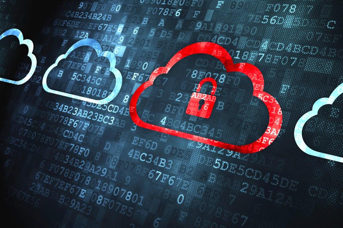 Cloud computing security lock.