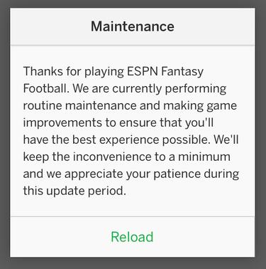 espn fantasy maintenance